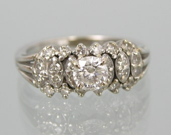 Beautiful 14K White Gold Diamond Ring,0.68 Carat,Size 7 #676