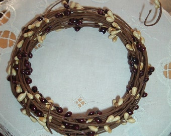 One 18' Pip Berry Rope Garland Dark Burgundy and Vanilla Primitive Crafts Folkart Doll Making Wreaths Swags