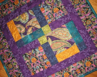 Quilted Table Topper, Jewel Tone Paisley Purple, Turquoise, Green and Gold, Large Table Topper, Reversible Table Mat, Paisley Table Topper