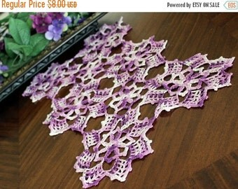 Crochet Doily or Centerpiece - Crocheted in Variegated Purples - Vintage Linens 13371