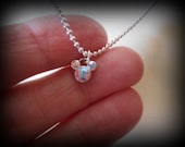 Mickey Mouse Crystal Necklace Pendant Aurora Borealis AB Crystals