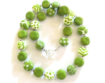 Ceramic Necklace, Kazuri Bead Necklace, Green and White Abstract Design Necklace