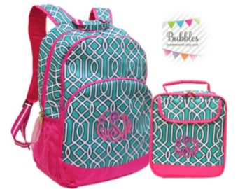 MONOGRAM INCLUDED Girls' Twist Backpack and Lunchbox Set