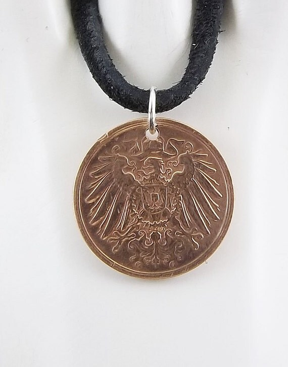 1912 German Eagle Coin Necklace Mens Necklace Womens