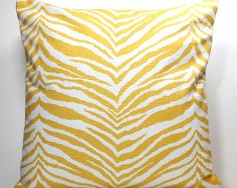 16 Inch OR 18 Inch Decorative Throw Pillow Cover  -  Yellow and White Zebra - Invisible Zipper Closure - Fabric on Both Sides