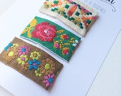 Embroidered snap clips- set of 3