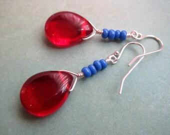 Red Glass Earrings, Sterling Silver Earrings, Modern Earrings, Blue Earrings, Teardrops, Wire Wrapped