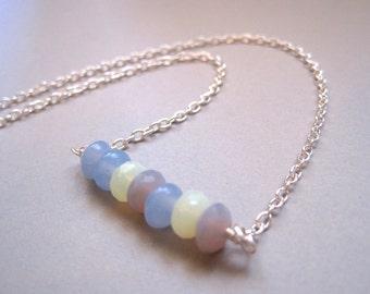 Czech glass bar necklace, minimalist necklace, purple necklace, blue necklace, yellow necklace, beaded pendant