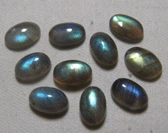 Labradorite - AAAA - High Quality - So Gorgeous Full Blue Flashy Fire Oval shape Cabochon Huge size - 8x12 mm - 10 pcs