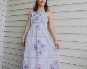 70s Hippie Maxi Dress Summer Floral Print Blue Smocked Long Vintage XS
