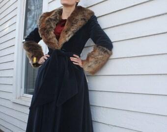 70s Blue Princess Coat Faux Fur Collar Cuffs Winter Vintage 1970s XS Junior Belle NOS