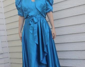 Blue Satin Gown Princess XS Full Length 70s Long Formal Evening Dress