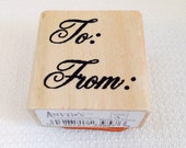 To and From Christmas Rubber Stamp, Wood Block Stamp, Whimsical, 1 inch, Christmas Gift Tags