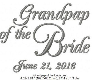 Grandpap of the Bride - Embroidered Handkerchief - Wedding Gift - Simply Sweet Hankies