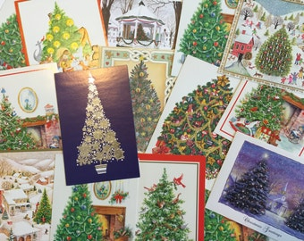 15 vintage Christmas/Holiday cards featuring Christmas Trees - NEW - scrapbooking, mixed media, craft, art supply