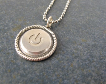 Power Up Braided Pendant- Recycled MAC Power Button Necklace -  Sterling Silver Plated Chain