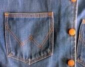 """Vintage 60s 70s Wrangler Black Label No Fault Denim Western Vest - Rare Excellent Condition - 42"""" Chest Men's L -  Haight Ashbury Rockabilly"""