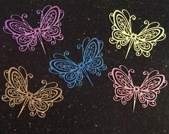 Pretty Glittered Butterflies - Set of 5