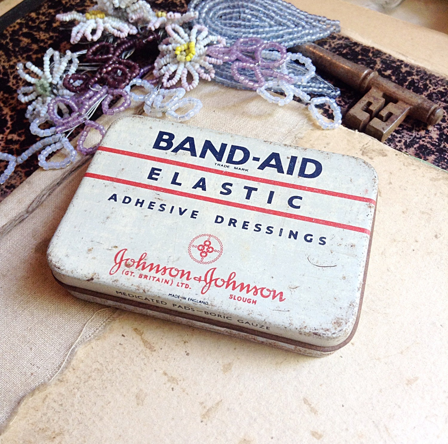 Vintage BAND-AID Tin Red Black and Cream Storage