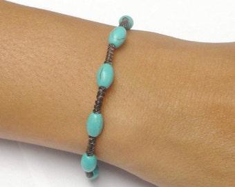 Turquoise BEADED Fair Trade Braided Wax Cotton Thai Buddhist Wristband Bracelet Asian Jewelry