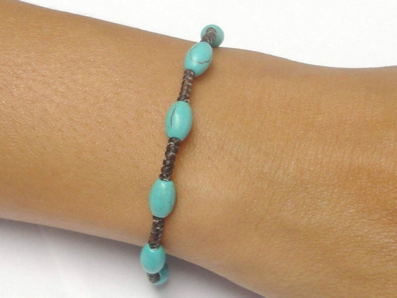 Turquoise BEADED Fair Trade Braided Wax Cotton Thai Buddhist Wristband Bracelet Asian Jewelry