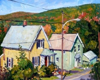 Sunny October Houses. Oil on Panel, 14x14 American Realist Landscape, Plein Air Impressionist Oil Painting, Signed Original Fine Art