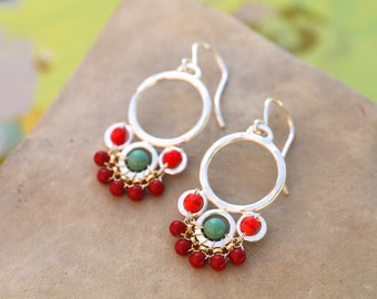 Flower Drop Earrings in Red, Turquoise and Coral