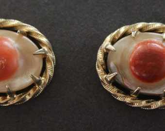 Vintage Polished Shell Cuff Links