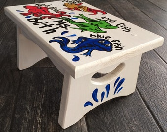 Dr. Seuss Step Stool Inspired - one fish two fish step stool hand painted bench & Light Pink Square Owl Step Stool Brooke Owl Custom islam-shia.org