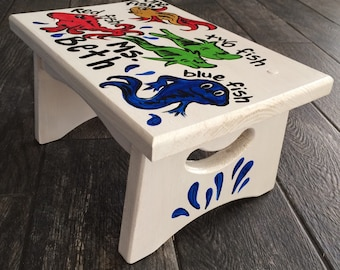 Dr. Seuss Step Stool Inspired - one fish two fish step stool hand painted bench - hand painted red fish blue fish  stool