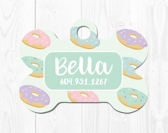 Dog ID Tag Dog Tag for Dogs Custom Pet ID Tag Mint Pet Tags Custom Dog Tag Pet Tag Doughnut Dog Tag Dog Tag ID Cute Dog Tag