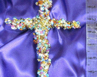 "Hand beaded wall cross multi colored 8.5"" by 5.5"" custom made NEW"