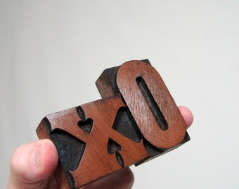 X O Wood Type Letterpress X and O Letters Two Print Blocks Vintage