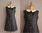60s black silk Dynasty vintage peter pan collar dress / vintage 1960s dress