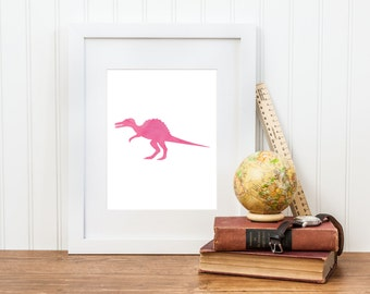 Girl Dinosaur Printable Nursery Art - Spinosaurus Dinosaur Decor - Digital Download - Big Girl Room, Girl Nursery Art, Girl Dinosaur Art