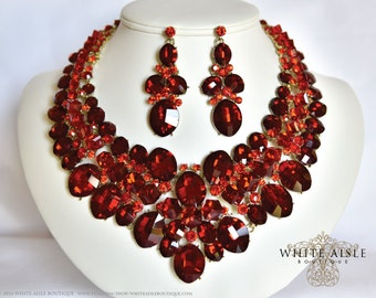 Red Bridal Jewelry Set, Crystal Necklace Set, Bridal Statement Necklace, Wedding Jewelry Set, Vintage Inspired Necklace, Chunky Necklace