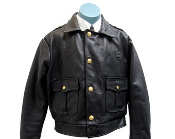 Vintage Police Leather Jacket Mens Taylors Leatherwear Cop Coat Made In The USA Mns Size 44