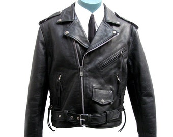Mens Motorcycle Jacket Vintage Mens FMC First Manufacturing Company Preowned Black Leather Side Lace Punk Biker Jacket Mns US Size 42