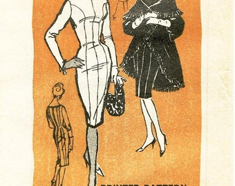 Vintage Mail Order Pattern - Prominent Designer A548 by MR. BLACKWELL - Misses' Fitted, Seamed Sheath Dress & Fringed Cape - Sz 16/Bust 36""