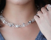 custom choker necklace / beaded choker / navy blue / pearl choker / delicate silver wire woven collar / custom color / gift for her