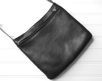 Pebbled Leather Crossbody Bag - Vintage Crossbody Bag - Shoulder Bag