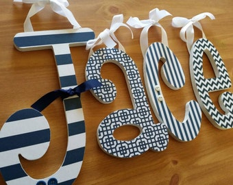 Baby Boy Nursery,Navy Blue,Custom Decor, Wooden Name Letters, Mad About Navy Theme, Personalized, Hanging Name Letters, Wall Sign, Boys Room