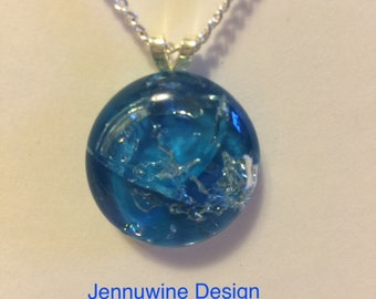 Hand painted fractured glass necklace