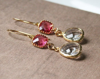 Ruby Earrings,Dainty Jewelry,Delicate Earrings,Gold Earrings,Clear Drop Earrings,Bridesmaid Gift