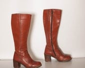 vintage 1970s stacked leather boots