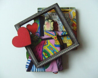 Alice in wonderland,  BROOCH, Queen of hearts, frame, wooden, wood, off with his head, by NewellsJewels on etsy
