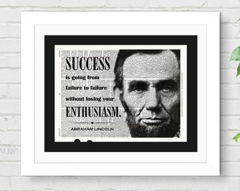 ABRAHAM LINCOLN QUOTE - Inspirational Print, Abe Lincoln, Patriotic, Motivational Quote, President Art, Success Is Going, Gift for Promotion
