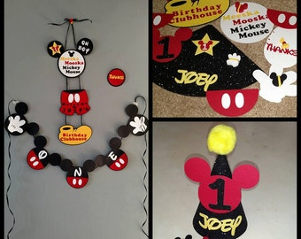 mickey mouse birthday decoration etsy fr. Black Bedroom Furniture Sets. Home Design Ideas