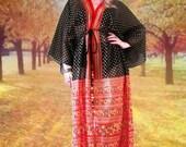 BIG ASS SALE vintage 70's kimono style sheer maxi dress black red gold / boho hippie festival