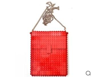 Dark red hip clutch on a chain made entirely with LEGO® bricks FREE SHIPPING crossbody purse handbag